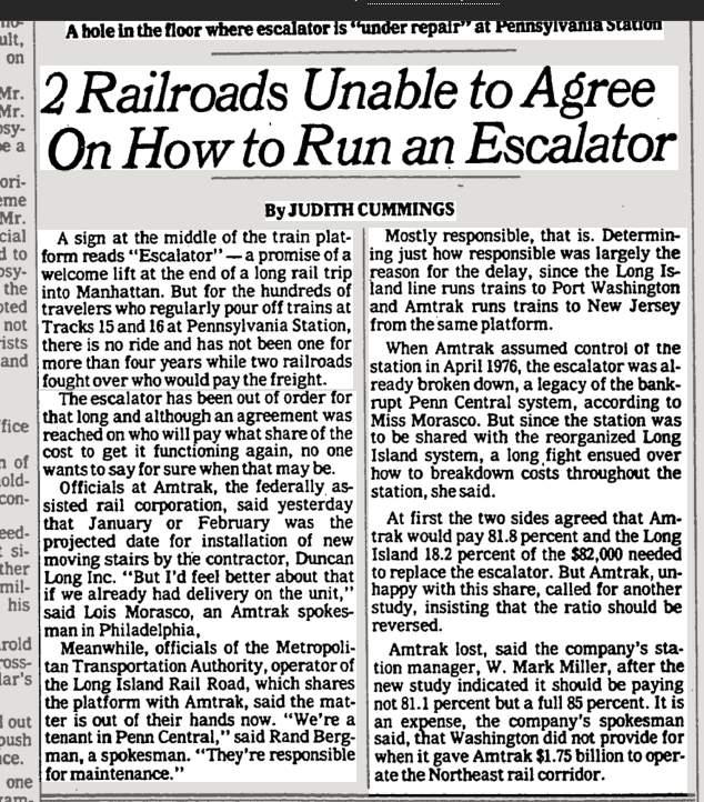 2 Railroads Unable to Agree on How to Run an Escalator